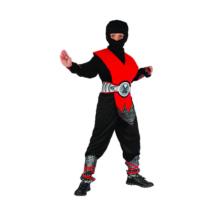 Ninja jelmez - 130-140 cm, piros-fekete
