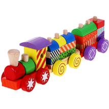 Színes fa vonat építőelemekkel