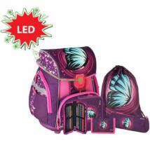Spirit: Blue Butterfly mintás, LED-es iskolatáska, hátizsák 6 db-os szett