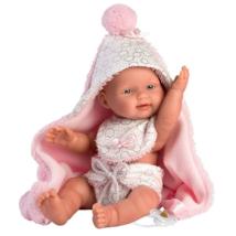 Llorens: Bebita 26cm-es kislány baba rózsaszín fürdőköpennyel