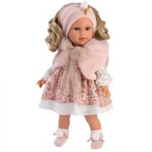 Llorens: Lucia 40cm-es kislány baba rózsaszín ruhában