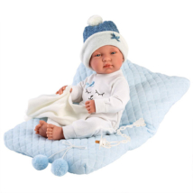 Llorens: Tino 43 cm-es újszülött kisfiú baba párnával