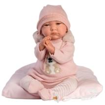 Llorens: Reborn limitált kiadású élethű újszülött baba rókás kötött ruhában 42cm-es