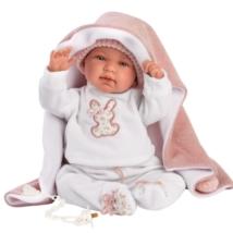 Llorens: Tina 44cm-es síró baba rózsaszín pelenkázóval