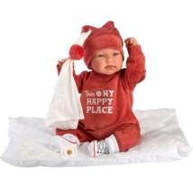 Llorens: Tina 44 cm-es síró baba piros ruhában