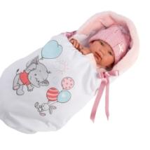 Llorens Llorens: Tina 44cm-es síró baba mintás pólyával