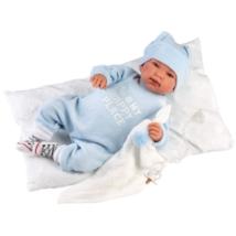 Llorens: Tino 44 cm-es síró baba kék ruhában