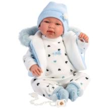 Llorens: Tino 44cm-es síró baba kapucnis kék mellényben