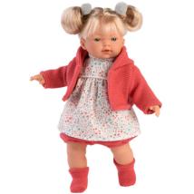 Llorens: Aitana síró baba piros kardigánban - 33 cm