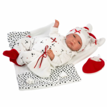 Llorens: Lalo újszülött sírós fiú baba kutyusos ruhában 42cm
