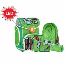Spirit: Football Green, LED-es iskolatáska, hátizsák 5db-os szett