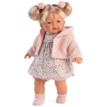 Llorens: Roberta 33cm-es síró baba virágos ruhában
