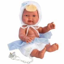 Llorens: Újszülött fiú baba kék kacsás ruhában 26cm-es