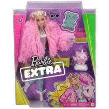 Barbie Extra: Baba rózsaszín bolyhos kabátban, unikornis malaccal