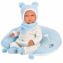 Llorens: Lalo újszülött sírós fiú baba holdacska alakú párnával 42cm