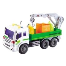 Elektronikus szelektív hulladékgyűjtő teherautó daruval, fénnyel és hanggal 30 cm