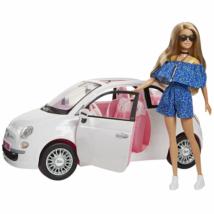 Barbie Fiat 500 autóval napszemüvegben