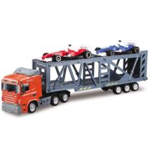 Autószállító kamion két versenyautóval kisautó 1/64