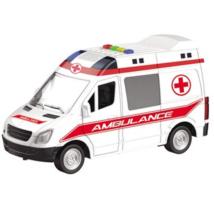 Hátrahúzós mentőautó fénnyel és hanggal 25 cm