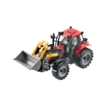Traktor markolóval 1/27 piros