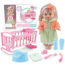 Lovely baba kisággyal, kiegészítőkkel és hang effektekkel 30 cm