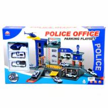 Rendőrkapitányság parkolóházzal és járművekkel