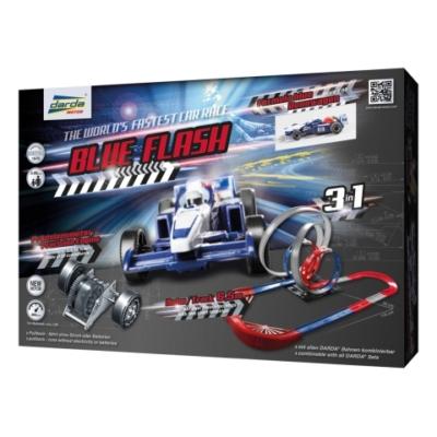 Darda: Blue Flash 3 az 1-ben pályaszett Formula kék hátrahúzható pályaautóval
