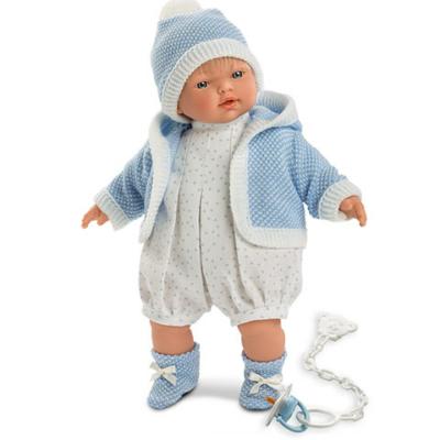 Llorens Roberto 33cm-es baba halvány kék sapkával