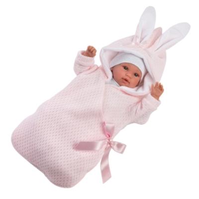 Llorens: Újszülött síró lány baba nyuszis pólyával 36cm-es