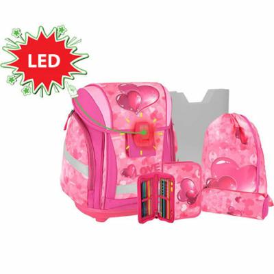 Spirit: Love Heart, 3D mintás, LED-es iskolatáska, hátizsák 5db-os szett
